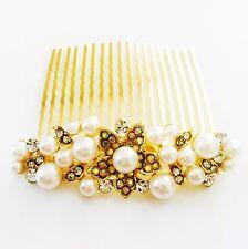 USA Hair Comb Rhinestone Crystal Bridal wedding Vintage Party Gold Pearl 02