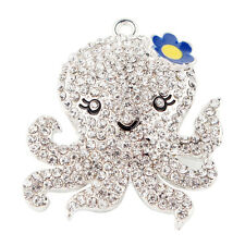 1PC New 48x42mm Octopus Charm Pendant Rhinestone For Chunky Necklace DIY