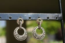 New sterling silver marcasite & rhinestone drop post open disc circle earrings