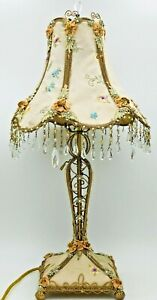 """Vintage Victorian 23"""" Tall Hand Made Table Lamp Metal/Pale Pink Fabric/Beads"""