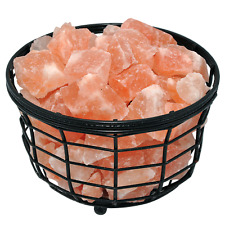 Himalayan Salt Lamp Iron Basket with Pink Salt Chunks, Handmade, Night Light