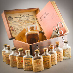 🐴 1890 Antique Humphreys Veterinary Specifics Box Set 11 Bottles Horse Medicine