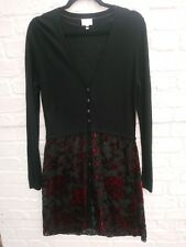 EAST Black Wool Cardigan & Long Silk Red  Floral Sheer Hem Size M Medium 10 12