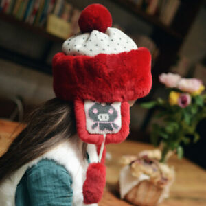 Children Thick whole fur pelt Real Rabbit Fur Hat Warm Soft with Earlap Ear Muff