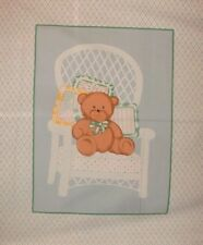 Baby Wallhanging Quilt Panel Fabric Bear White Wicker Chair Blue Diamonds BTY