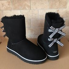 UGG BAILEY BOW GINGHAM RIBBON BLACK SUEDE CLASSIC SHORT BOOTS SIZE US 7 WOMENS