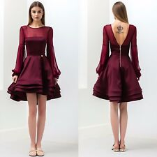 Vestido de Fiesta Bronx Y Banco Corto Cóctel Damas Falda de volantes de Completo Rojo Borgoña