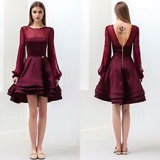 Bronx And Banco Short Prom Dress Cocktail Ladies Full Ruffle Skirt Burgundy Red