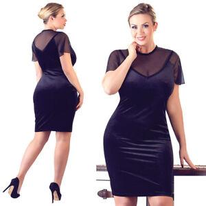 """Plus Size Damen Samtkleid Kleid L XL 2XL 3XL 4XL Samt Kurzarm Reizwäsche """"Alana"""""""