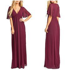 NWT Show me Your Mumu Womens Size XS Emily Chiffon A-Line Gown Merlot $198