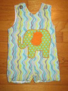 La Jenns Elephant Jon Jon/Shortall/Romper Size 3 Months
