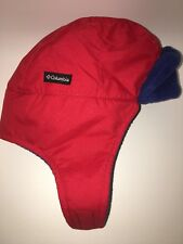 COLUMBIA Infant O/S Red Blue Ear Flap Velcro Adjustable Winter Hat