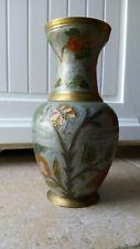 """Vase cloisonné - fleurs & papillon """"Peint/colorisé """"par amateur Bronze Début XXe"""