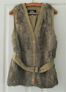 Vintage 1960s Coney Rabbit Fur Long Line Belted Waistcoat Gilet