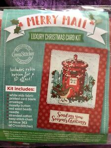 Merry Mail Post Box And Robin Christmas Cross Stitch Card Kit