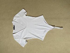 White V Neck Leotard. Thong Bodysuit. Size 8