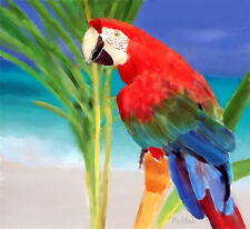 Beautiful Art Watercolor Print Tropical Parrot Seascape Red Turquoise Blue