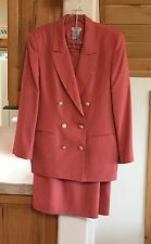 Talbots size 14 lined suit double breasted blazer & skirt rayon/linen blend NICE