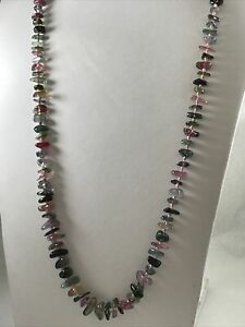 """Watermelon Tourmaline Knotted Pink Silk Bead Necklace 925 Sterling Silver 30"""""""