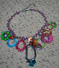 "Fashion Costume Jewelry Necklace 21"" Silver Rainbow Beads Pendants Trendy FUN"