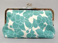 Ava Teal Floral Print Clutch Purse Handmade Handbag Blue White Cotton New Gift