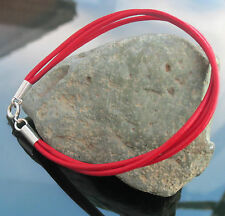 Black Brown Blue Red Tan Leather Cord Bracelet with 925 Sterling Silver Clasp