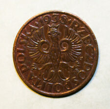 Poland 2 Grosze 1938 Uncirculated Bronze Coin - Crowned Eagle with Wings Open