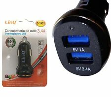 CARICABATTERIA CELLULLARE DA AUTO DOPPIA USB 3.4A CARICATORE UNIVERSALE LINQ C-3