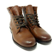 Frye Tyler Combat Boots  Lace Up Brown Leather Cognac MSRP $288 Womens Size 6