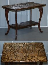 LIBERTY'S LONDON THREE MONKEY HEAR SEE SPEAK NO EVIL CARVED COFFEE SIDE TABLE