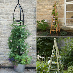 Large Garden Obelisk Flower Support Wooden Metal Climbing Plants Pyramid Cage