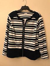 NWT Avenue Women's Plus Size 18 / 20 Navy Blue White Stripe Zip Up Trendy Blazer