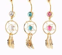 Piercing navel belly feather hanging gold plated 18K