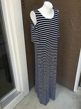 New Chico's Black & White Striped Cold Shoulder Maxi Dress 2 = Large L 12 14 NWT