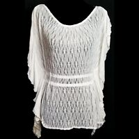 Free People womens blouse small white sheer split ruffle sleeve top boho draped