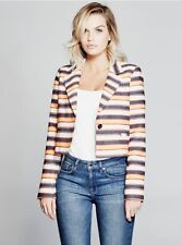 $248 Guess By Marciano Women's Erin Cropped Striped Blazer Multicolored Size L