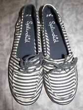 Splendid Flats Slip On Canvas Striped White & Blue Boat Shoes 7 ½ M