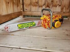 """Scary Bloody Yellow Gemmy Chainsaw Halloween Prop Leatherface *NO Chain* 30"""""""