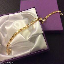 """GB SIM Blanco Diamante 7.5"""" Oro Amarillo 18k lleno de Pulsera Ciruela Reino Unido En Caja"""