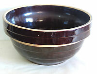 "Vintage Brown Crockery 9"" Mixing Bowl marked USA FREE SH"