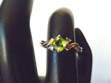 Signed ALWAND VAHAN~Peridot & Sapphire 14k Yellow Gold, 925 Silver Ring 7  N1/2