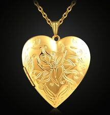 "18K Gold Plated Lily Flower Heart Locket Pendant Necklace Photo 22"" Link Chain"