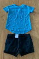 Girls size 9 Lonsdale Blue  t-shirt & black distressed denim shorts Target  NEW