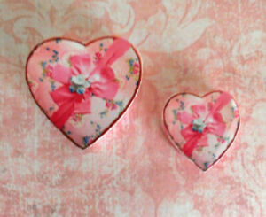 Miniature dollhouse Valentine 2 sizes Candy Boxes Pink Hearts set/2