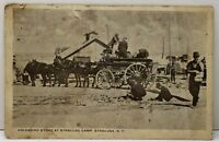 Syracuse NY Unloading Stone at Syracuse Camp 1918 to Sturgis Mich. Postcard A14