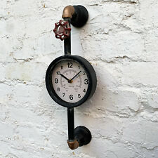 Metal Industrial Style Rustic Warehouse Factory Station Pipe Wall Art Clock Gift