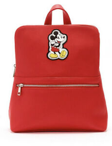 Disney Store Disney Mickey Mouse Red Faux Leather Backpack Bag BRAND NEW