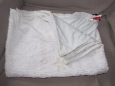 VINTAGE BABY BLANKET AMY COE CHENILLE GREEN WHITE LAMB STAR BLOCKS