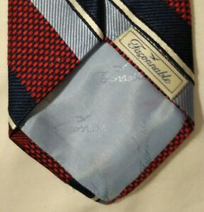 Faconnable Red Blue Stripe Woven Silk Tie $125 Retail