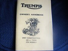 NEW Triumph T120 BONNEVILLE TR6 TIGER Owners Handbook 1970 TH51UK 99-0892